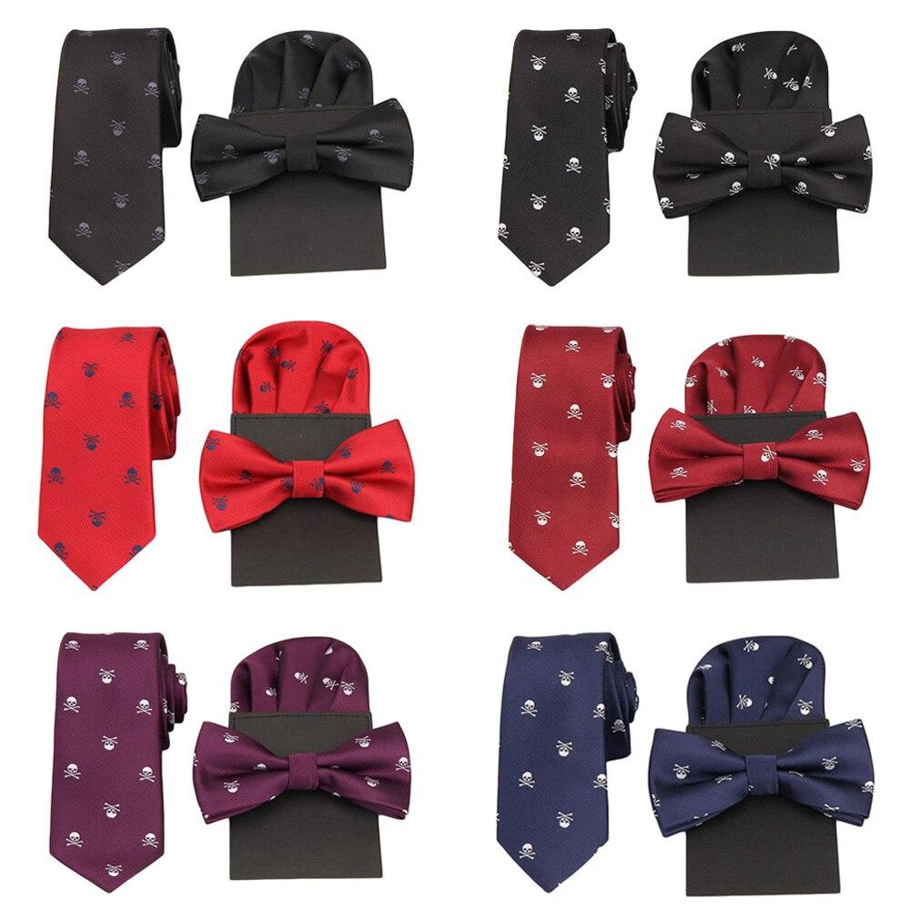 Men Stylish Skull Print Necktie Pre-tied Tuxedo Bow Tie Pocket Square Party Set