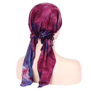 Image 3 - Helisopus Pañuelo estampado de moda para mujer, pañuelo de turbante elástico musulmán, accesorios para el cabello, para cabeza turbante, gorro para cáncer