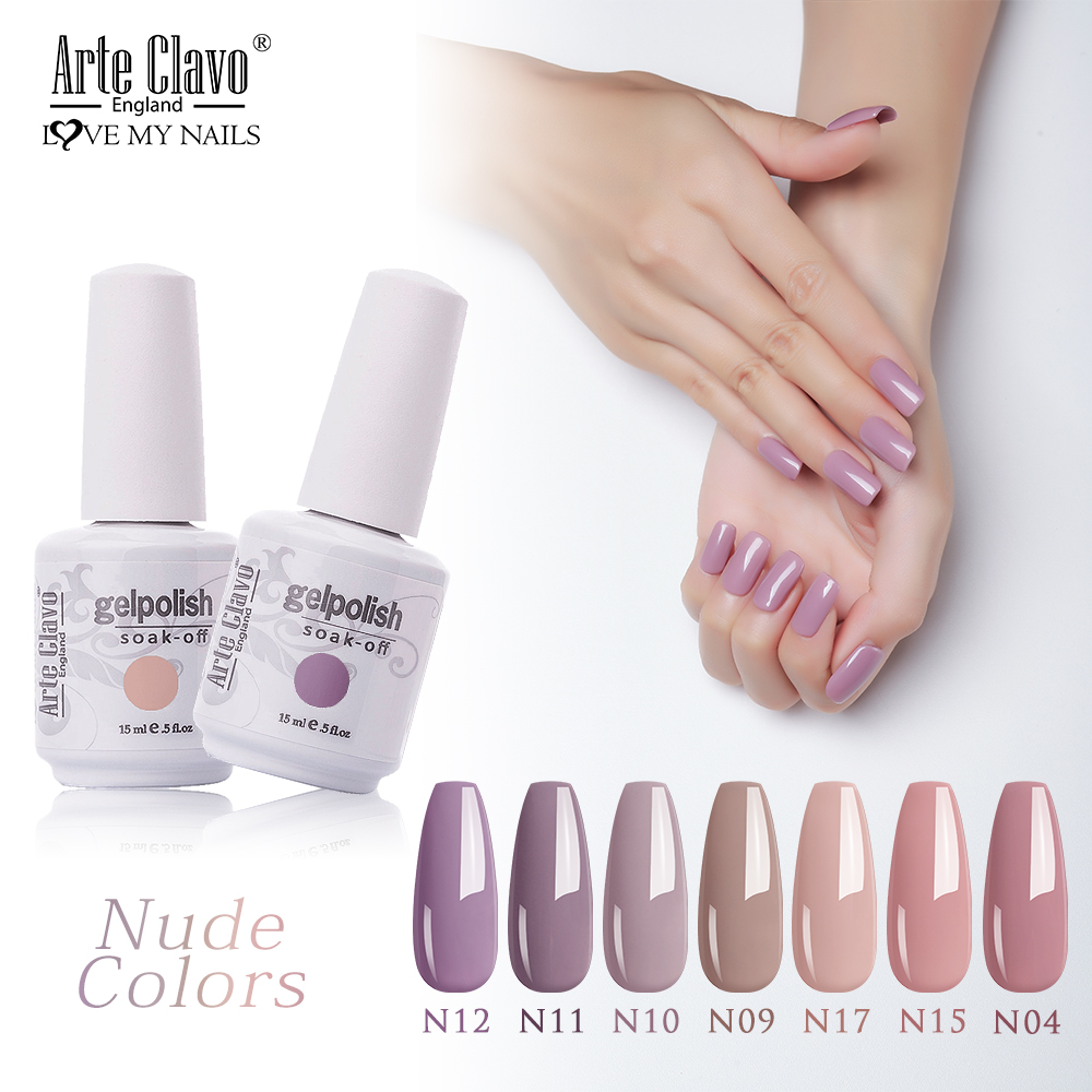 Arte Clavo Nude Colors Series 15ml UV Gel Nail Polish Gel Lacquer Varnish Nail Paint Top UV LED Gel Nail Art Hybrid Soak Off