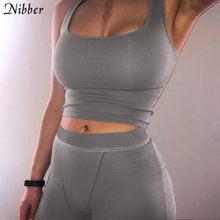 Nibber-conjunto básico de moda para mujer, ropa deportiva negra, 2 piezas, camiseta sin mangas para correr, pantalones cortos, traje, chaleco de actividad