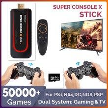50000 + jogos console de jogo retro portátil para ps1/n64/dc sistema duplo gaming & tv mini jogadores de jogos de vídeo hd wifi com fio/sem fio