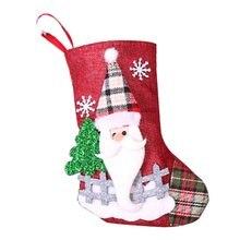 Рождественские украшения, носки Санта-Клауса, клетчатые тканевые куклы, льняные чулки, подвески на елку, рождественские подарочные пакеты
