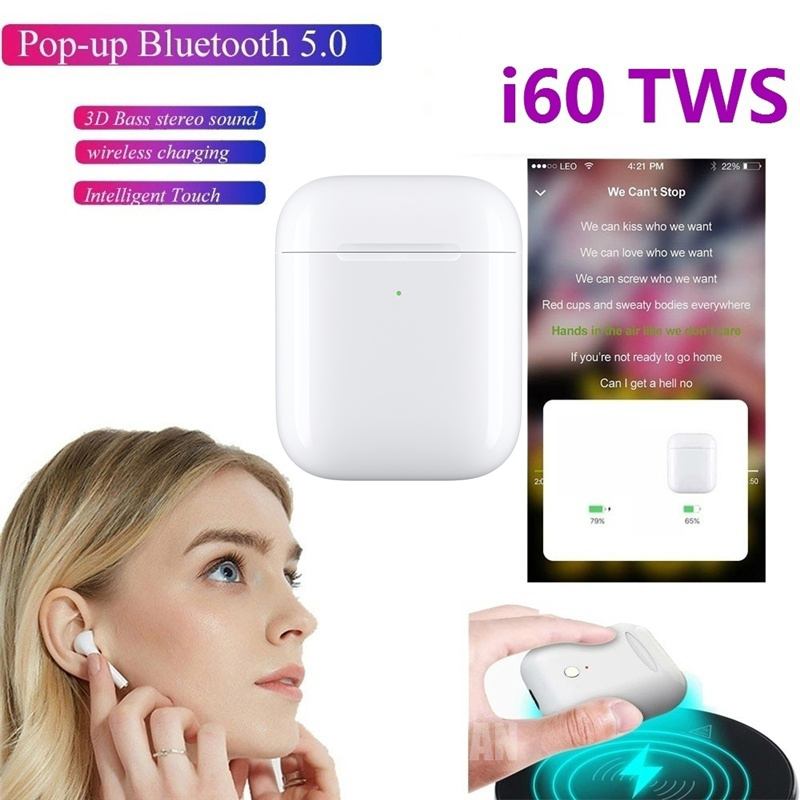 New I60 <font><b>Tws</b></font> Headset Original 1:1 <font><b>POP</b></font> <font><b>UP</b></font> Wireless Bluetooth 5.0 Super 6D Bass Earbuds Wireless Charging Pk Airdots Earbuds image