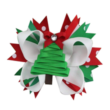 5 INCH DIY Christmas Tree Boutique Hair Bow Hair Bows Alligator Clips Girls Gift Accessories