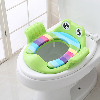 Travel Portable Baby Potty Seat Pad Kids Frog Shape Rainbow Travel Toilet Training Seat  Toilet Mat  Cover Cushion with Handle