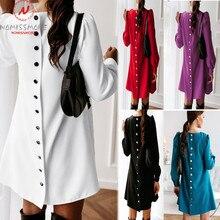 Fashion Womne Spring Autumn Casual Loose Dress Back Button Decor O-Neck Long Sle