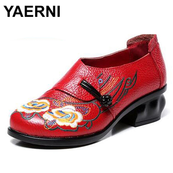 YAERNI  Vintage Hand Embroider Women Casual Pumps Slip On Ladies Genuine Leather Shoes High Heel Shoes Women Mary Janes