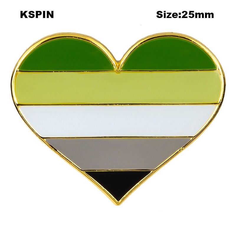 Aromantic Pride Flag в форме сердца, значок-зажим, кнопка для одежды, металлические аксессуары для одежды