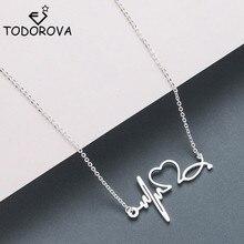 Todorova Love Heart Necklace Choker Stainless Steel Heartbeat Pendant Necklaces for Women Jewelry Accessories Collier Femme татуировка переводная heartbeat