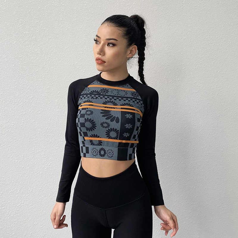 Women Seamless Sport Yoga Crop Top Long Sleeve Gym Workout Fitness T-Shirts Tops