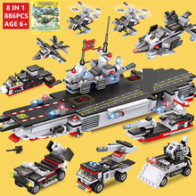 886Pcs Military Aircraft Carrier ARMY NAVY Warship Building Blocks Sets Technic LegoINGs Bricks Toys for Children Christmas Gift 472pcs invincible battleship warship navy bricks military army soldiers building blocks toys for children