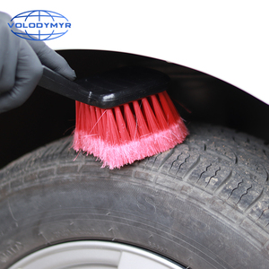 Image 5 - Car Wheel Brush Tire Cleaner with Red Bristle and Black Handle Washing Tools for Auto Detailing Motorcycle Cleaning Carclean