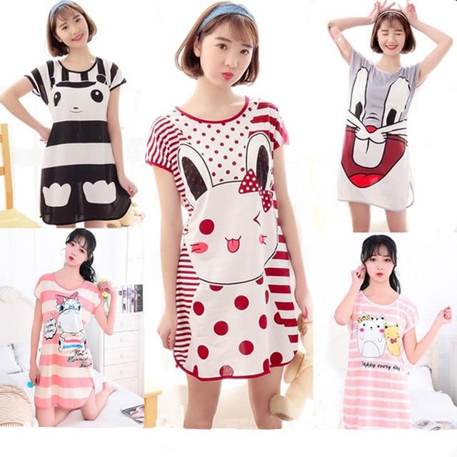 2020 Summer Womens Nightgown Female pajiamas Short Sleeved Cartoon Sleepwear Girls Round-Neck Cute Dress 1