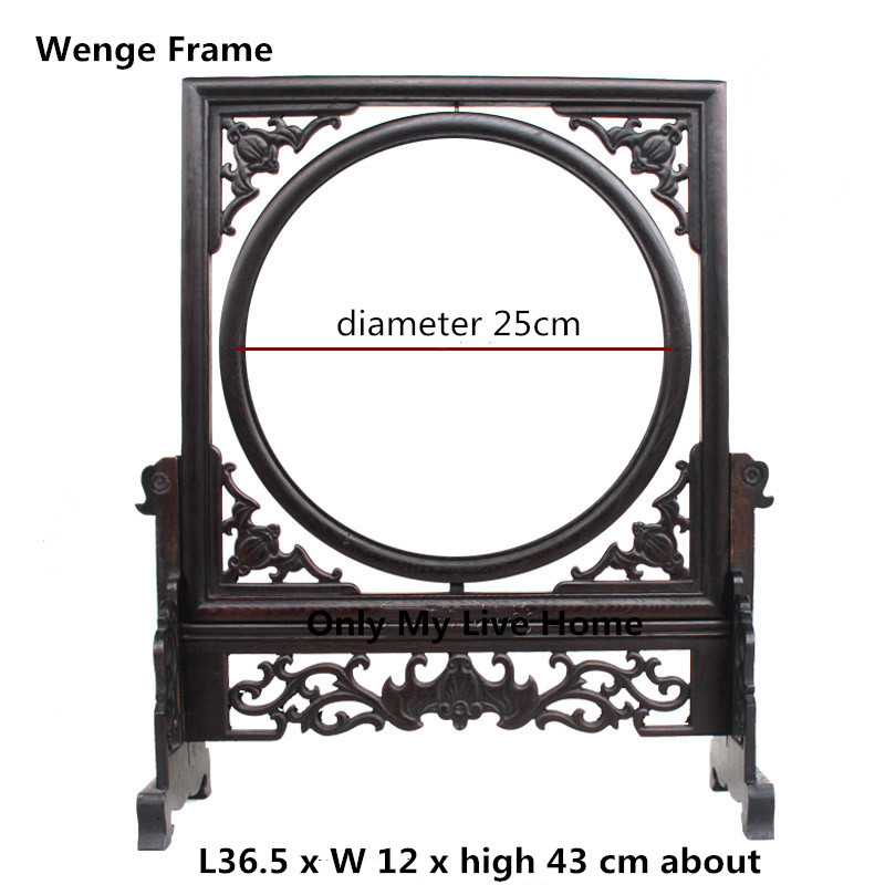 Traditional Vintage Chinese Painting Frame Home Decor Ornaments Wenge Wood Photo Picture Frame Stand Carved Mirror Frame