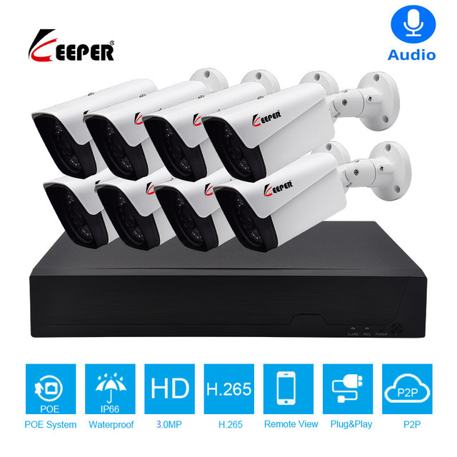 キーパーキーパー 8CH 3MP POE キット 8 個 H.265 システム Cctv セキュリティ屋外防水 IP カメラ監視警報ビデオ p2P