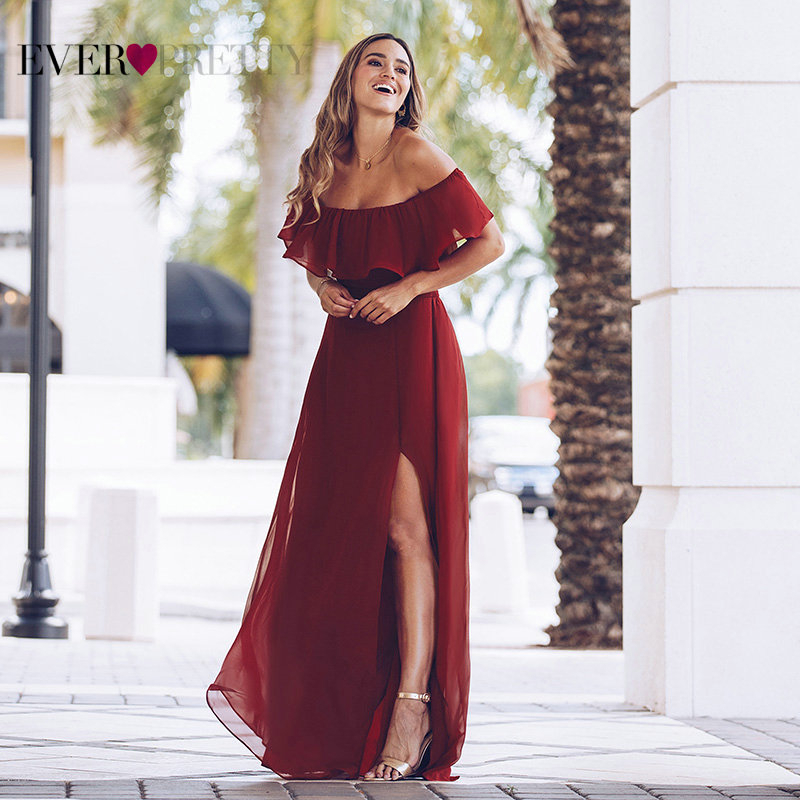 Purple Evening Dresses Ever Pretty EP07679 Sexy Off-shoulder A-line Long Party Gowns With Ruffles 2020 Wedding Guest Dresses