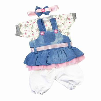 Reborn Baby Dolls Clothes Denim Dress Suit For 20- 22 inch Reborn Doll Clothing Baby Sets Reborn Dolls Matching Clothing 4 pcs warkings reborn