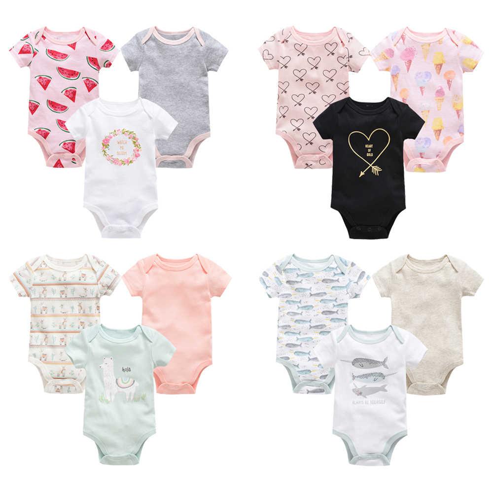 2019 Neugeborenen Baby Mädchen Kleidung Kurzarm 3 teile/satz Baumwolle körper bebe Kleidung Set body baby Overall Neue Geboren Baby junge Kleidung