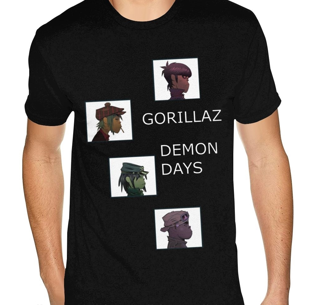 Personalised Gorillaz Demon Days Music Plastic Beach Tee Shirt Mens Personalized Short Sleeved Pure Cotton Round Neck Tshirt