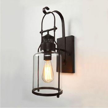 iron bar American loft pendant light bedroom stairs aisle dining room industrial lamp