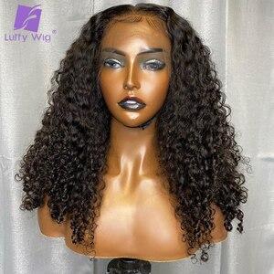 Image 3 - 13x6 תחרה מול שיער טבעי פאות ברזילאי רמי שיער Glueless קינקי מתולתל 4x4 תחרת סגירת פאה מראש קטף לנשים לופי