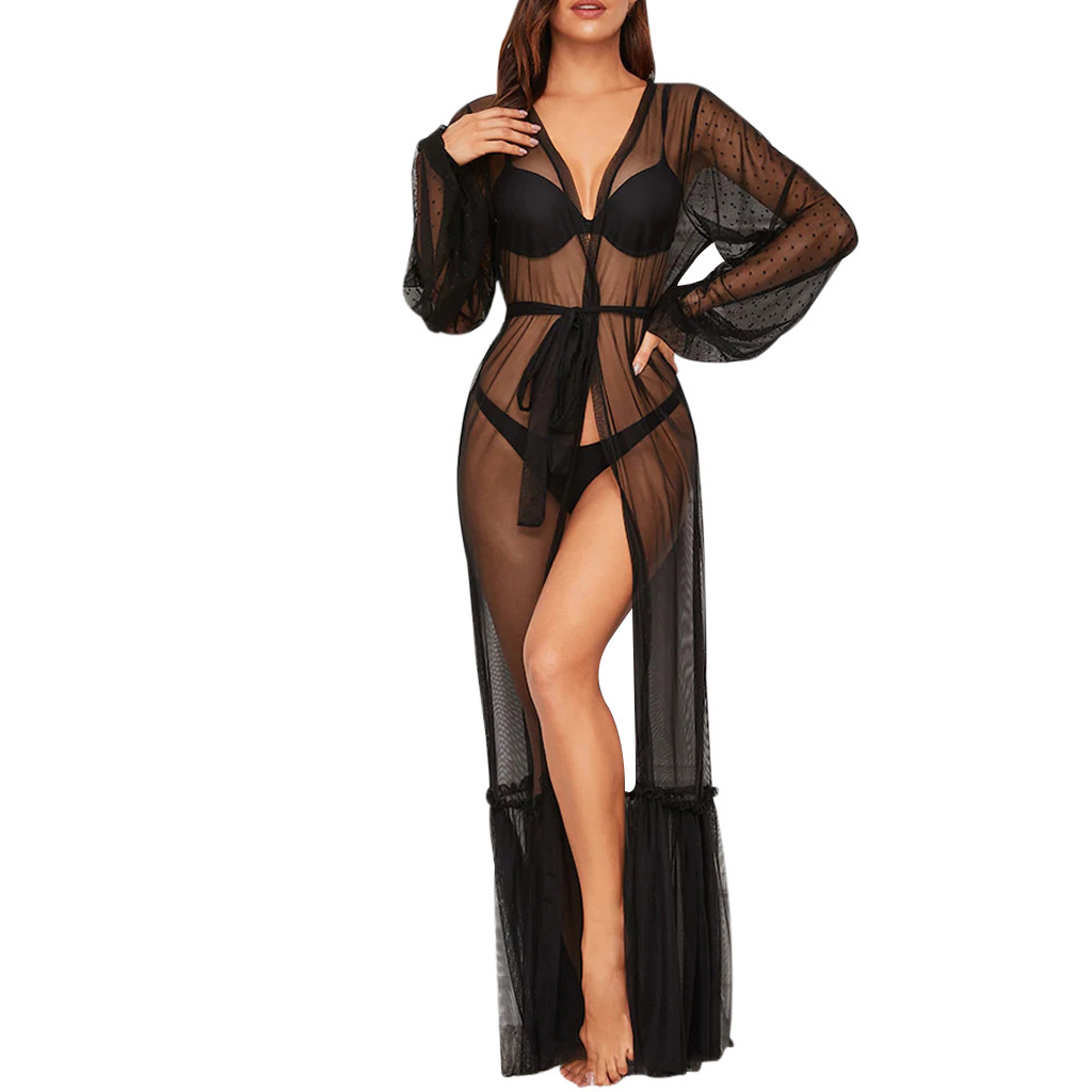 Sexy Womens Lace Mesh Night Dress Robes See-Through Long Maxi Underwear Lingerie Babydoll Sleepwear Nightwear Sleep Dress