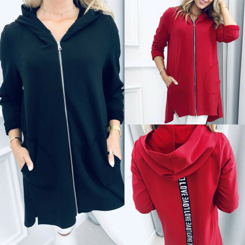 Autumn S-XL Womens Long Sleeve Hooded Sweater Cardigan Jacket Medium Length Zipper-up Outerwear Coat with Pockets Black Red