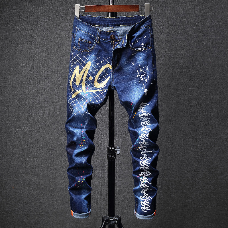 New Style Printed Letter Men's Skinny Tight Elasticity Jeans Blue Paint Inkjet-Style Fashion Pants