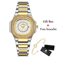 WWOOR Golden Watch For Women Bracelet Watches Top Brand Luxury Diamond Quartz Stainless Steel Ladies Wrist Watch 2020 Gifts Xfcs