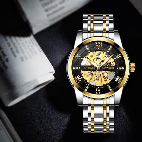 Lavaredo Top Brand Luxury Retro Stainless Steel Men Watch Sport waterproof  Automatic Mechanical Skeleton Watches Cool Design A5 Multan