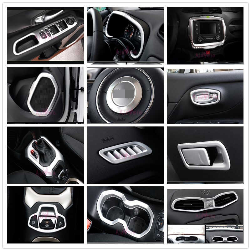 פנים הגה קורא מנורת Gear Knob כיסוי Trim Chrome רכב סטיילינג 2016 2017 2018 עבור Jeep Renegade אבזרים