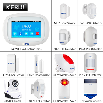 KERUI K52 DIY WIFI GSM Alarm System for Home 4.3Inch Large Touch Screen TFT Display Security Motion Detector Home Alarm System kerui w18 tft screen wifi gsm home security alarm system pir motion detector app control door window detector alarm system kit