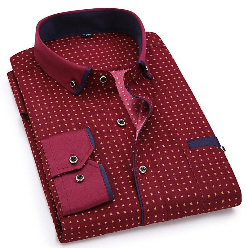 Slim Fit Men Fashion Casual Long Sleeved Printed Shirt Male Social Business Dress Shirt(China)