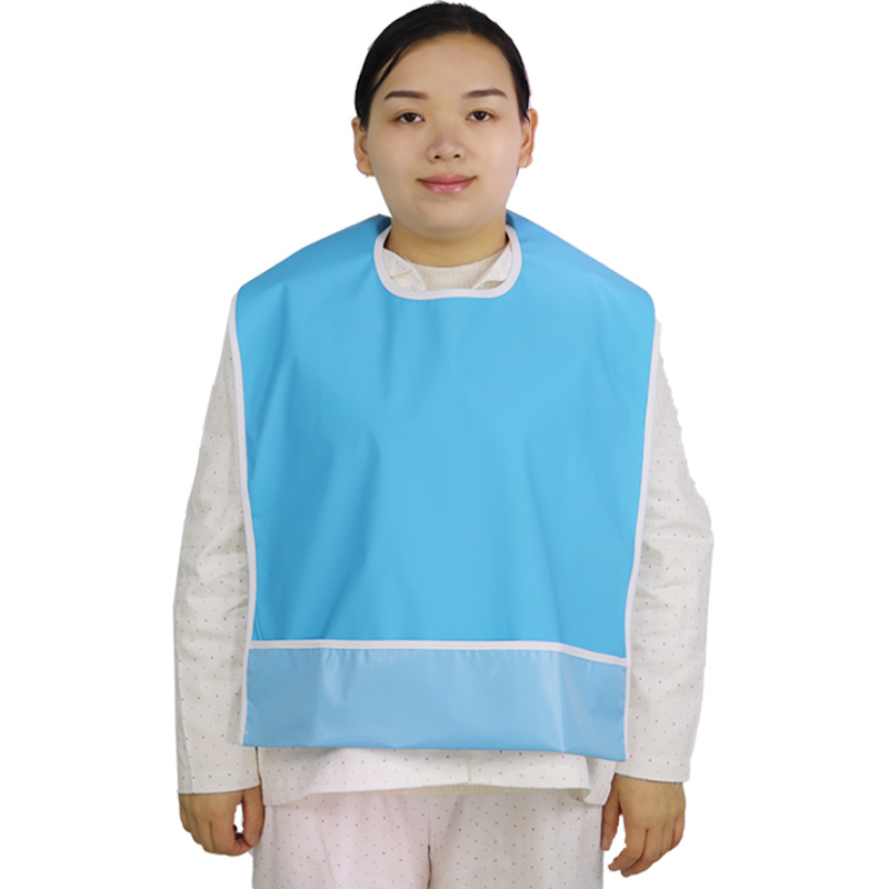 Waterproof Adult Dining Bibs PVC Solid Color Clothing Protectors Washable, Reusable, Pack Of 1 (Blue And Green)