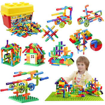 176 pcs DIY Water Pipe Building Blocks Toy with Storage Bucket Baseplate Pipeline Construction Educational Toys For Children
