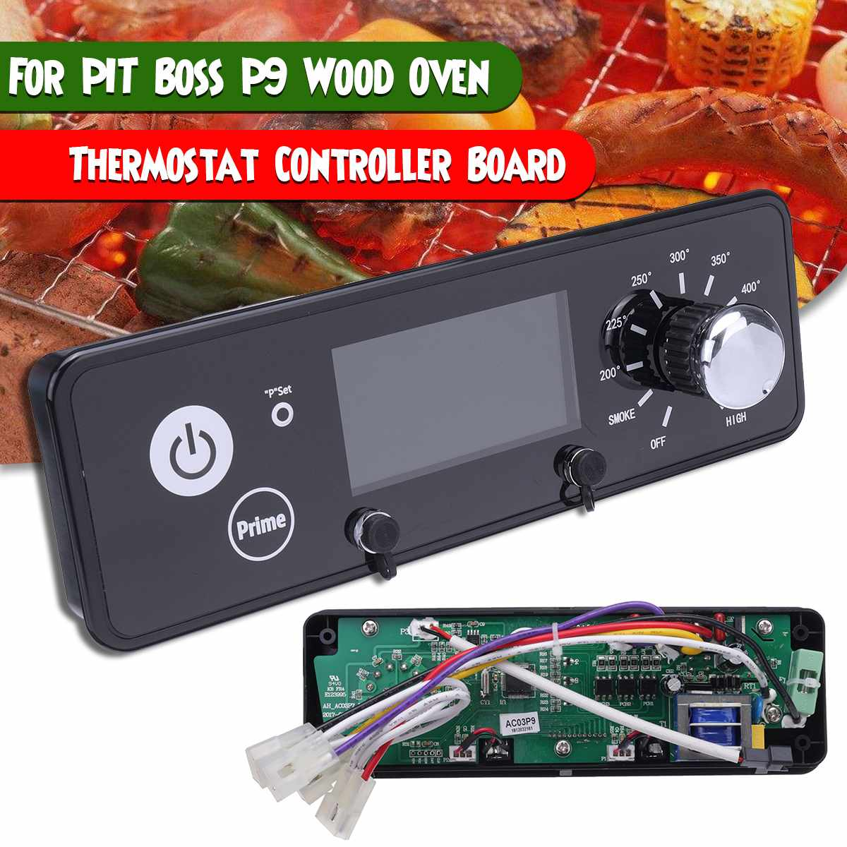 120V Digital Thermostat Controller Board Oven Temperature Control with Temperature Sensor /& Dual Meat Probes Interface Replacement Parts for Pit Boss Wood Oven Black