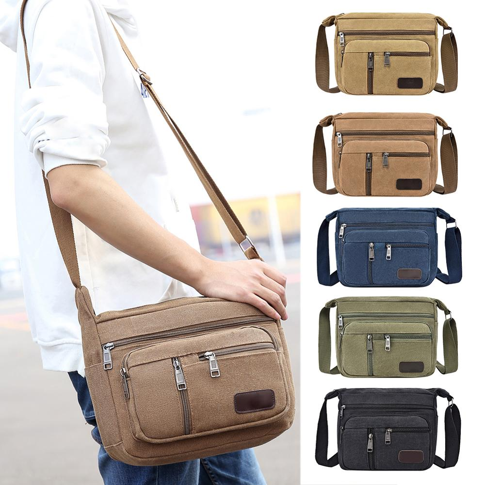 Canvas Shoulder Bags For Men Solid Colors Messenger Bags Strong Fabric Bags Vintage Style Crossbody Bags 2019 Multiple Pockets