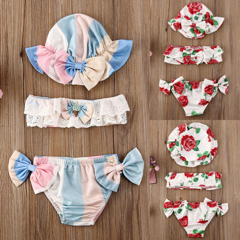 3Pcs Newborn Baby Girls Summer Swimsuit Cute Floral Print Toddler Baby Girls Kids Swimwear Bathing Suit Tankini Bikini Sets