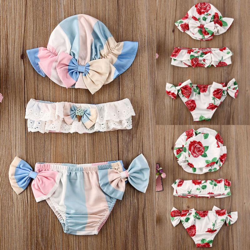 3Pcs Newborn Baby Girls Summer Swimsuit Cute Floral Print Toddler Baby Girls Kids Swimwear Bathing Suit Tankini Bikini Sets
