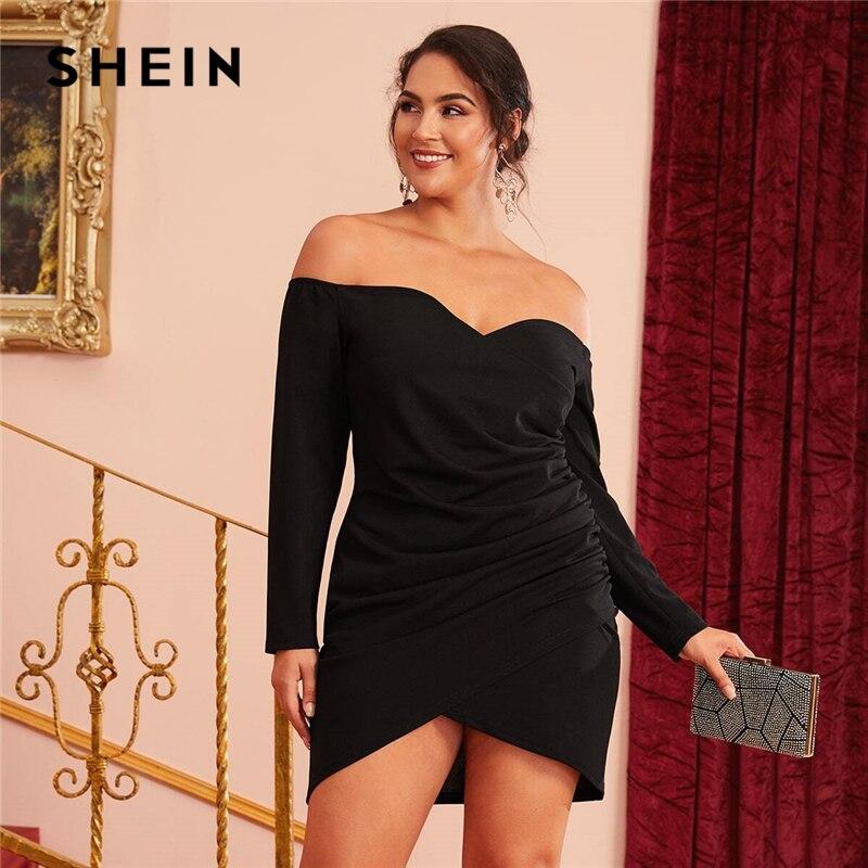 SHEIN Plus Size  Off Shoulder Cross Wrap Ruched Detail Bardot Party Black Dress Women Autumn Plus Glamorous Sexy Short Dresses