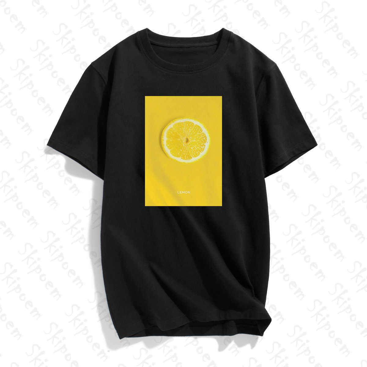 Obst Kunst Zitrone T-shirt Frauen Tumblr Punk Vintage Ästhetischen Koreanische Stil Gothic Baumwolle Kurzarm Plus Größe Streetwear Kleidung