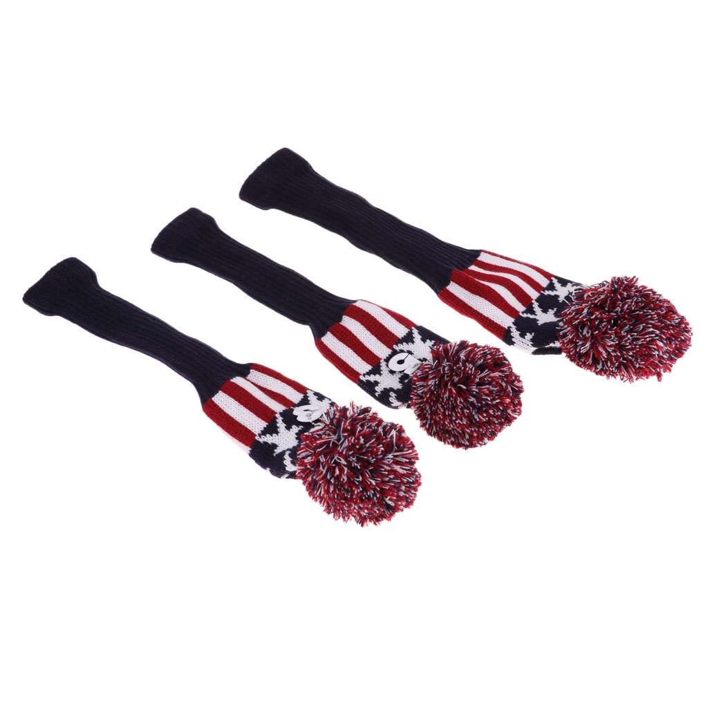 3pcs Golf Long Neck Headcover Knitting Wool Covers Hand Knit Golf Head Cover