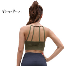 FlowerDance Yoga Bra Sports Crop Top Woman Brassiere Femme Push Up Cotton Stuffed Gym Energy Seamless Sport Wear for Women