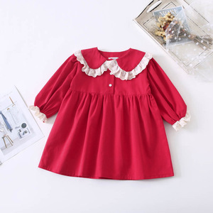 Image 5 - Spring New Arrival korean style cotton long sleeve princess dress with lace collar and sleeve for sweet cute baby girls
