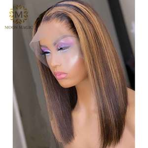 HD Transparent Lace Wig Ombre Human Hair Wigs Pixie Cut Highlight Lace Front Wig Honey Blonde Lace Front Wig Short Bob Hair(China)