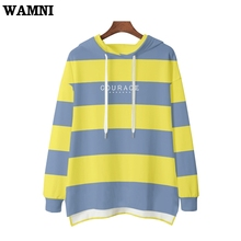 WAMNI Brand Striped 3d Fleece Hoodies Women Front Short Back High Quality Long Personalised Winter Warm Hooded