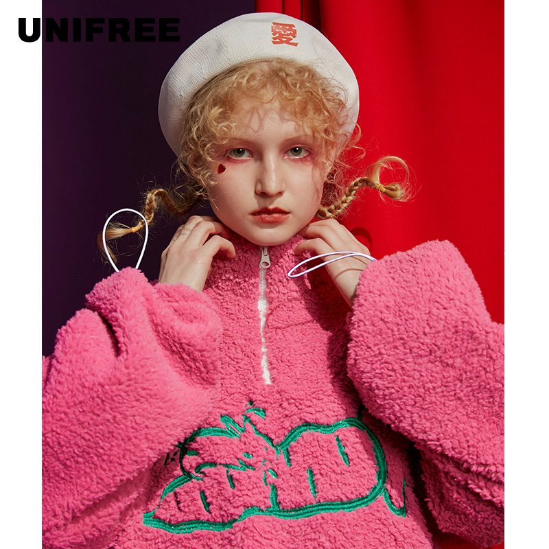 Unifree Net Red Top 2020 New Mock Neck, Plush And Thickened Waistband, Lambhair Sweater, Female U194A933PP