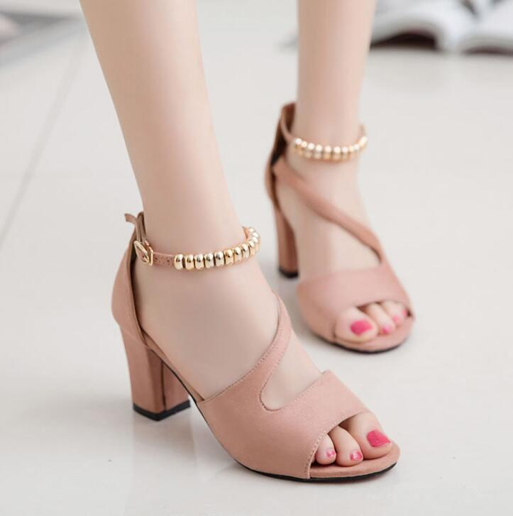 2020 Fashion Sexy Fish Mouth Hollow Roman Sandals Thick With Beaded High Heels Female Summer Sexy Female Sandals