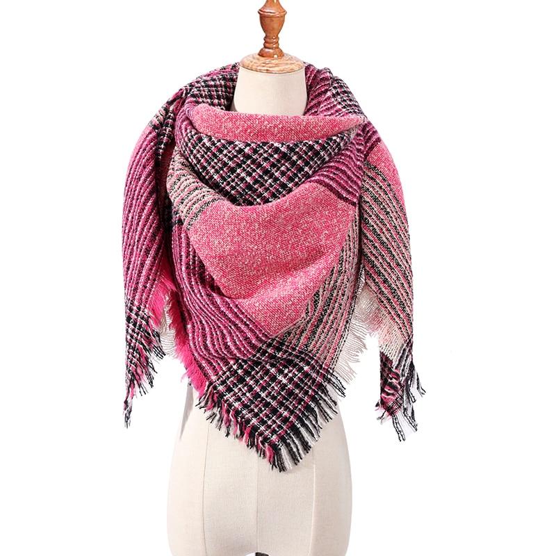 Bandana de cuello de marca de lujo para mujer, pashmina de diseñador, chal de Cachemira cálido a cuadros para Primavera de punto, invierno, 2019