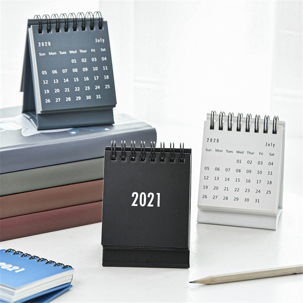 2021 2021 Simple Desktop Calendar Solid Color Series Dual Daily Schedule Planner Yearly Agenda Organizer Office Accessories 2